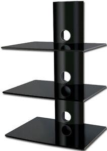 Black-Glass-DVD-Shelves-Shelf-3-Tiers-Game-Console-Sony-Samsung-LG-JVC-LCD-3D-TV