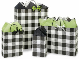 BUFFALO-ALLEY-Plaid-Design-Party-Gift-Bag-Only-Choose-Size-amp-Package-Amount
