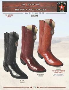 Los-Altos-Men-039-s-Genuine-Eel-Round-Toe-Western-Boots