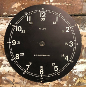 """6/"""" M Low US MIlitary Vintage Clock Dial With Mounting Plate"""