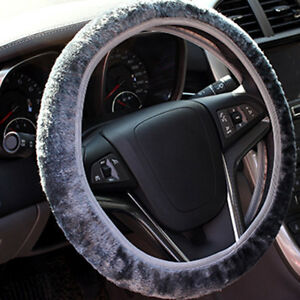 Gray-Warm-Soft-Fuzzy-Plush-Car-Auto-Steering-Wheel-Cover-For-Winter-Universal