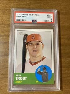 2012-Topps-Heritage-Mike-Trout-207-PSA-9-MINT-Rookie-Card-RC-Angels-MVP-HOF