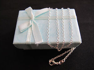 Necklace-034-O-034-925-Sterling-Silver-Chain-65cm-x-2mm-Beautiful-Gift-Idea-NEW