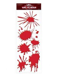 Detalles De Rojo Sangre Símbolos Ventana Gel Estático Fiesta Halloween Decoración