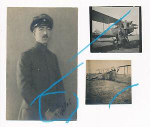 x3-Fotos-deutsche-Flugzeug-Fokker-portrait-Pilot-Rosskarth-mit-Unterschrift