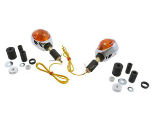 Indicator-Pair-Indicator-Chrome-Plated-Yellow-Glass-Motorcycle-Scooter-Quad
