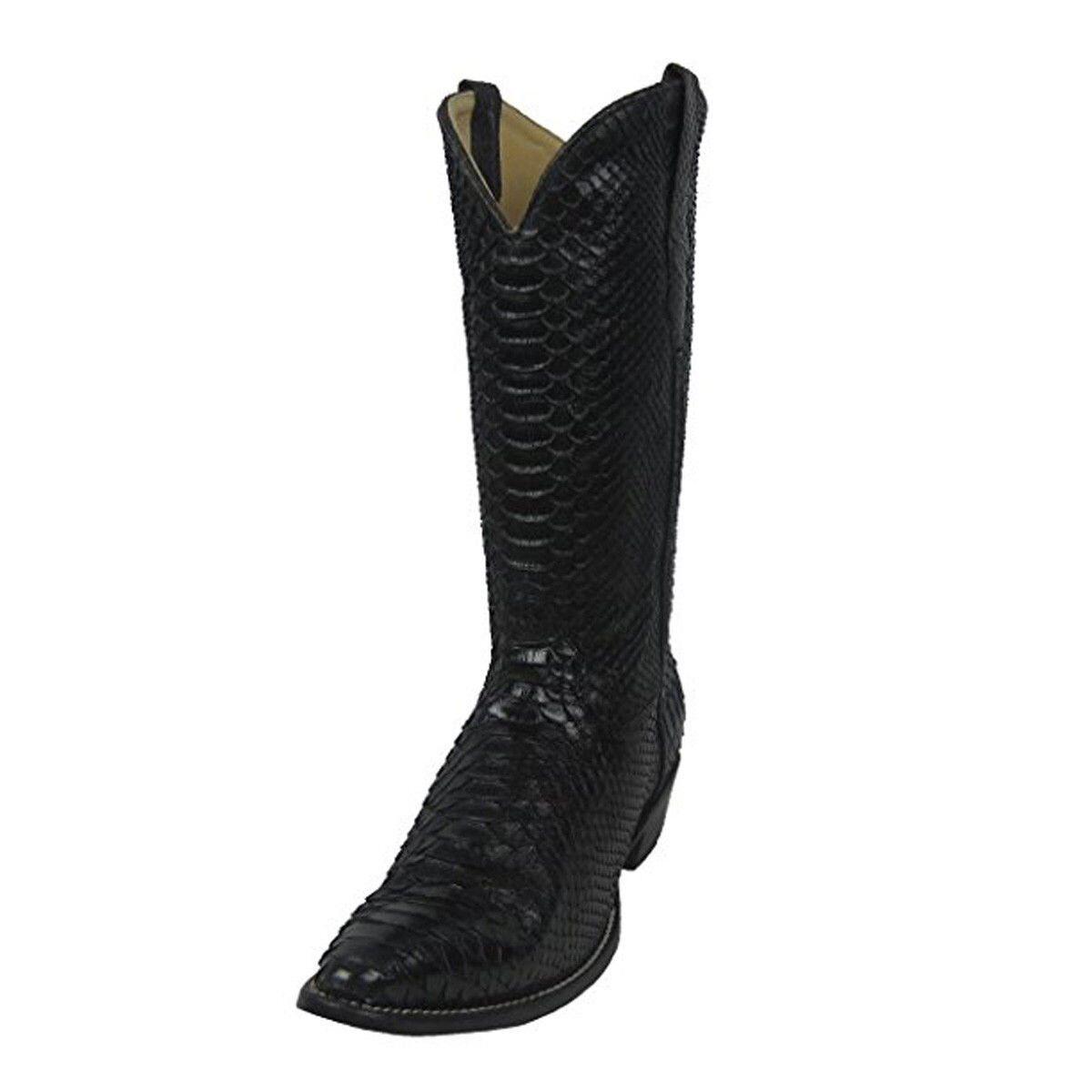 CORRAL Men's Black Python Round Toe Cowboy Boots C2942