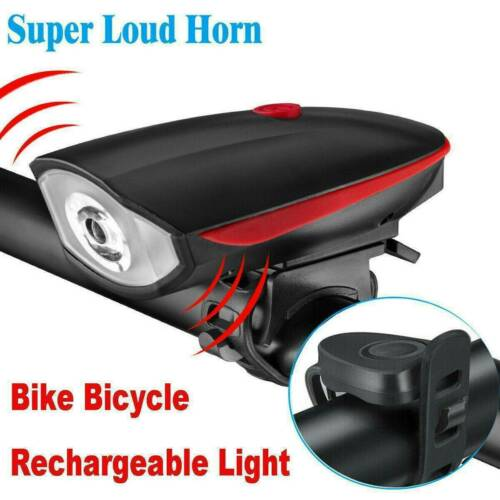 USB Rechargeable LED Bicycle Headlight Bike Head Light Cycling Horn Front Lamp