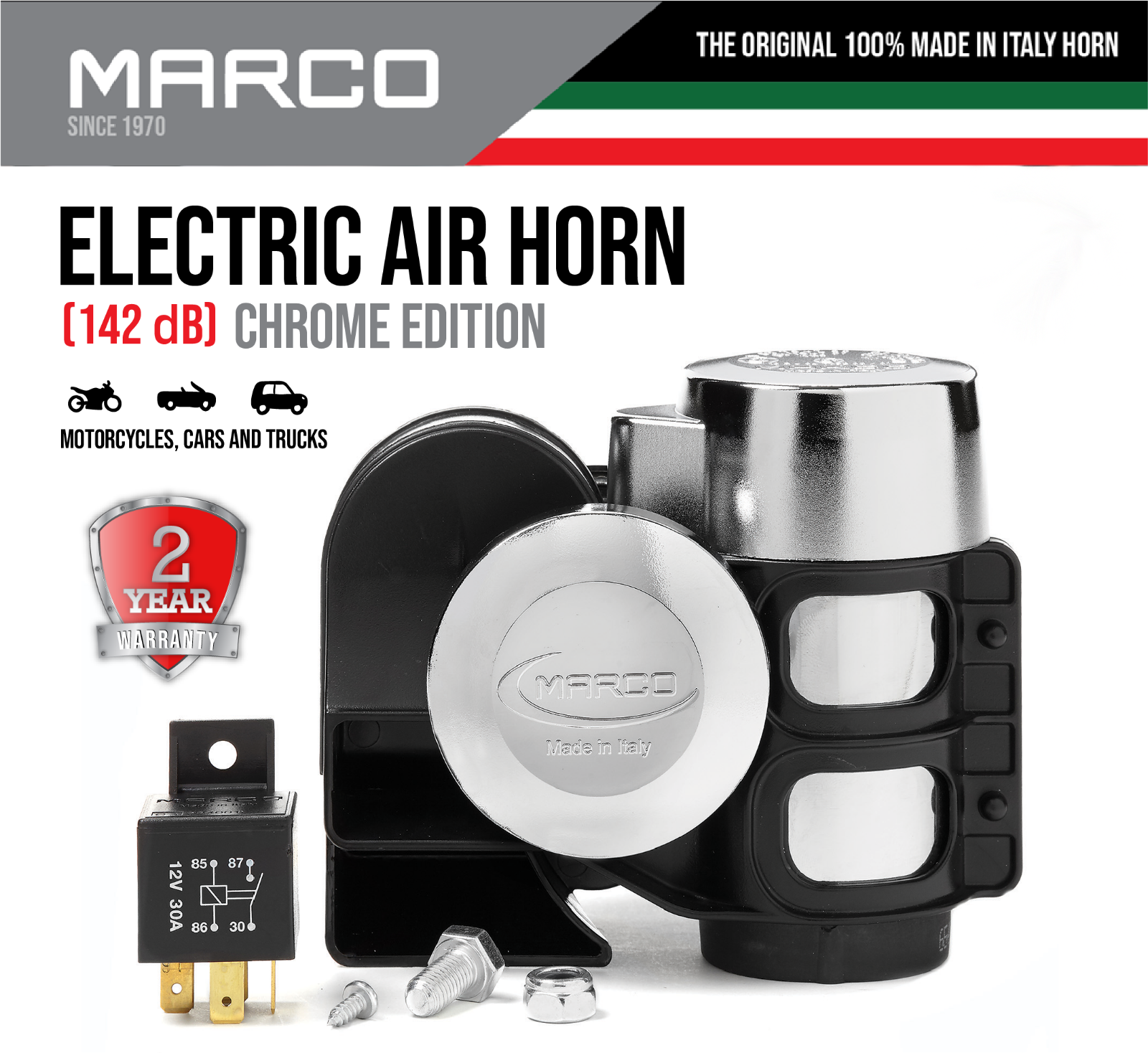 Marco Super Loud Hurricane Compact Air Horn for All 12v Vehicles Motorcycles Car