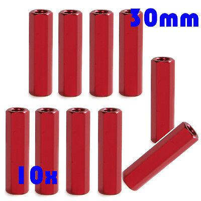 10pc M3 Aluminum Alloy Hex Nut Standoff Studs Red Spacer Thread Pillar Long 40mm