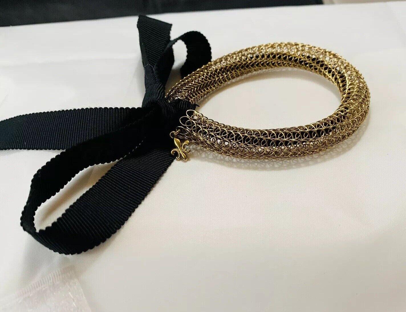 gold Viking Knit Mesh Fleur De Lis Charm Stretch Bracelet