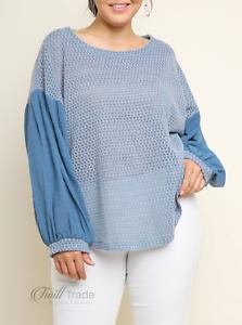 Umgee-Misty-Blue-Puff-Sleeve-Waffle-Knit-Scoop-Hem-Plus-Size-Top-NWT-XL-1X-2X
