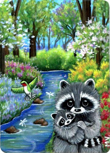 Raccoon Magical Fairy Tale Hummingbird Creek Summer ACEO Print from Original