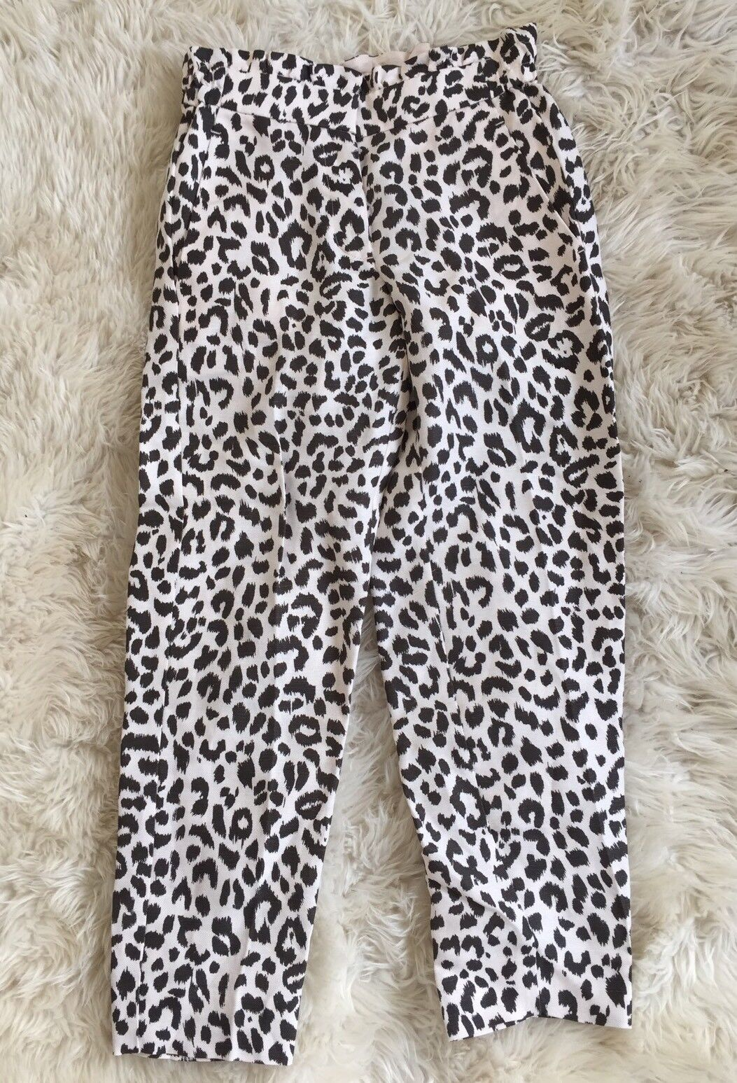 NEW Womens JCrew Ruffle Waist Linen Pants in Leopard Print Size 0 G2019 NEW