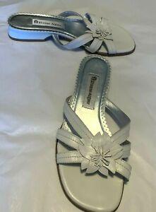 Etienne-Aigner-Women-039-s-Shoes-White-Leather-Open-Toe-Slide-1-034-Heel-Size-8M
