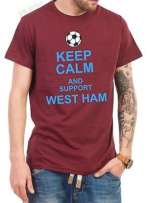 KEEP CALM AND SUPPORT WEST HAM T-shirt GIFT PRESENT FOOTBALL CLUB FC FAN tshirt