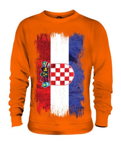 CROATIA GRUNGE FLAG UNISEX SWEATER TOP HRVATSKA FOOTBALL CROATIAN GIFT SHIRT