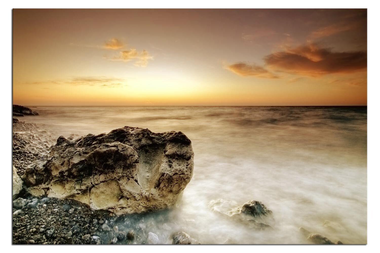 Bild auf LEINWAND STEINKÜSTE OZEAN SUNSET Living A04375 DEKO fertig gerahmt