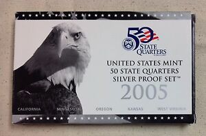 2005-US-MINT-SILVER-QUARTER-PROOF-SET-Complete-w-Original-Box-and-COA