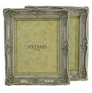 TWO-Shabby-amp-Chic-Vintage-Ornate-Antique-Silver-Photo-frames-for-10-034-x8-034-Pictures