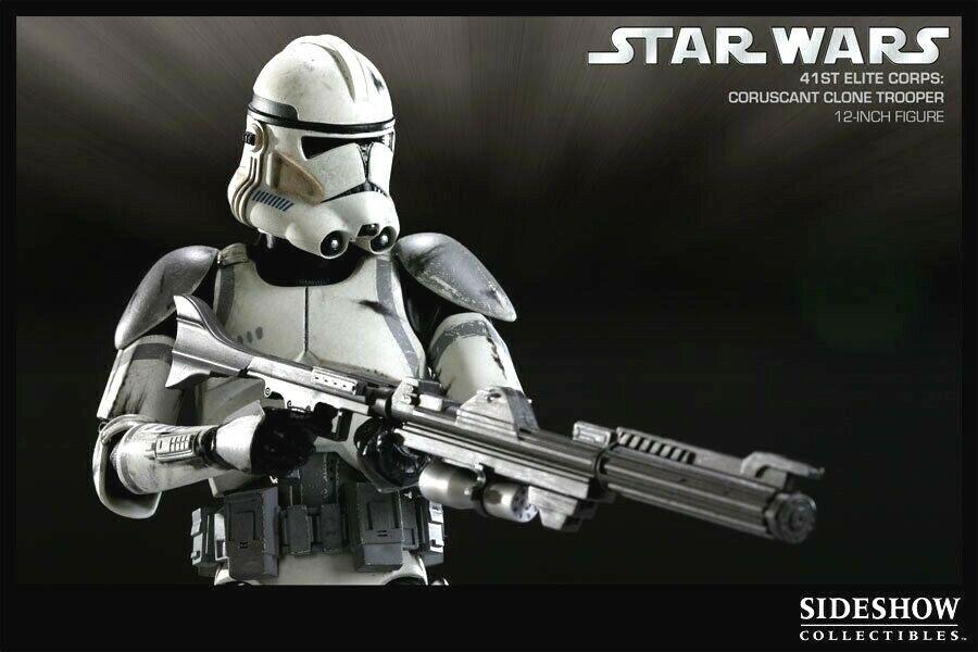 marca en liquidación de venta Sideshow ejércitos de Estrella Wars Coruscant Clone Trooper 1 6 6 6 figura 41st  ventas en linea