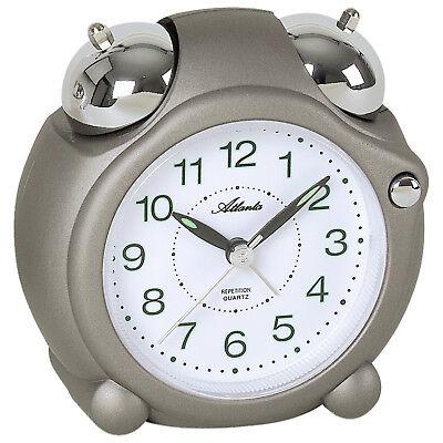 Neu Atlanta Wecker Uhr grau weiß modern beleuchtet Licht Glockensignal leise