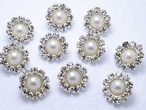 10-Sparkling-12mm-Glass-Rhinestone-Ivory-Pearl-Silver-Metal-Shank-Buttons-N008