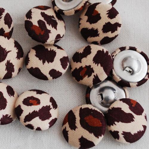 10 tissu boutons recouverts marron imprimé léopard 2cm