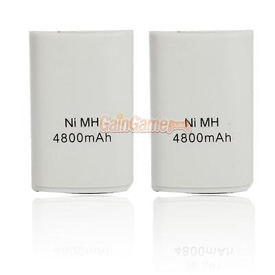 2 X 4800mAh High Capacity Rechargeable Battery for XBOX 360 Controller White
