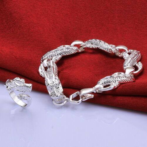 Cool Argent Sterling 925 Bijoux Chine Dragon Blanc Hommes Bracelet Ring Set S775-C