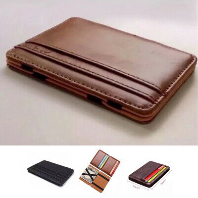 Men Genuine Leather RFID Money Clip Slim Wallet ID Credit Card Holder Coffee New
