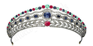 18.26ct Rose Cut Diamond Mixed Gemstone's Antique Victorian Look Silver Tiara Engagement & Wedding