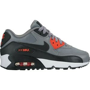 New-Nike-Youth-Air-Max-90-Leather-GS-Shoes-833412-010-Cool-Grey-Black-Orange