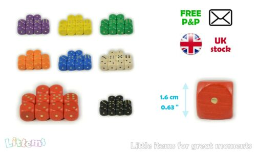 10 WOODEN COLOURED DICE 16mm Set Pack Six Sided D6 UK Game Board RPG Spare D06