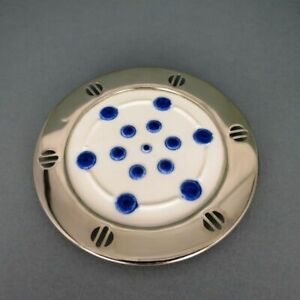 6-Piece-Art-Deco-WMF-Coasters-Stoneware-Blue-White-Spraying-with-Metallfassun