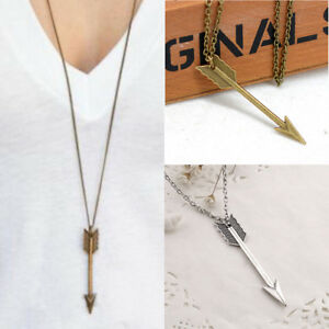 New-Men-039-s-Women-Fashion-Necklace-Jewelry-Arrow-Pendant-Long-Chain-Necklace-Gift