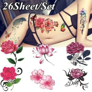 Watercolor-Rose-Temporary-Tattoo-Sticker-Waterproof-Women-Fake-Tattoos-Body-Art