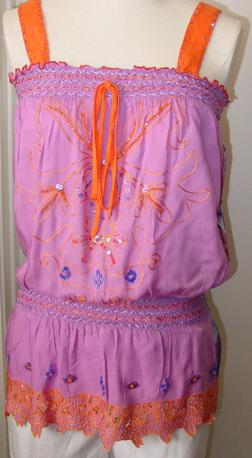 Woherren Top Lilac Rosa Orange Thin Strap Krista Lee Serpentine Embroidery Beads
