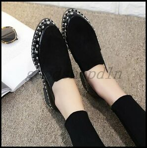 b4091aaa0c173 Details about British Fashion Womens Pointy Toe Rivet Punk Shoes Slip On  Casual Flats Loafers