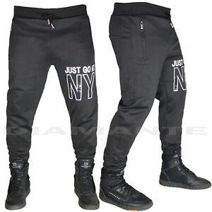 Pantaloni Tuta Uomo Cotone Elasticizzati Sportivi Palestra Design New York 1560