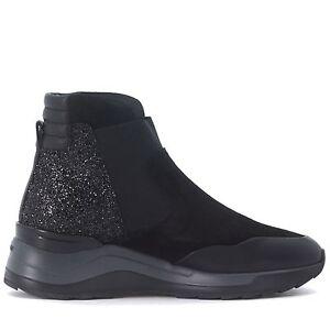 HOGAN REBEL R296 Sneakers SlipOn Donna EU 40 UK 7 Suede Nero HO046 SCONTO 40%