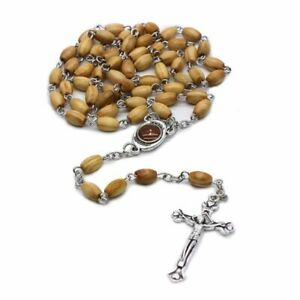 Perle-Ronde-Faite-A-La-Main-Chapelet-Catholique-Croix-Perles-De-Bois-Religieux