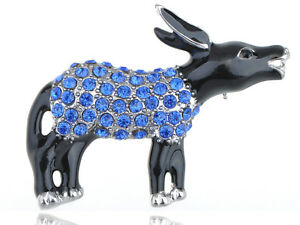 Capri-Blue-Crystal-Rhinestone-Democrat-Black-Enamel-Donkey-Symbol-Pin-Brooch-New
