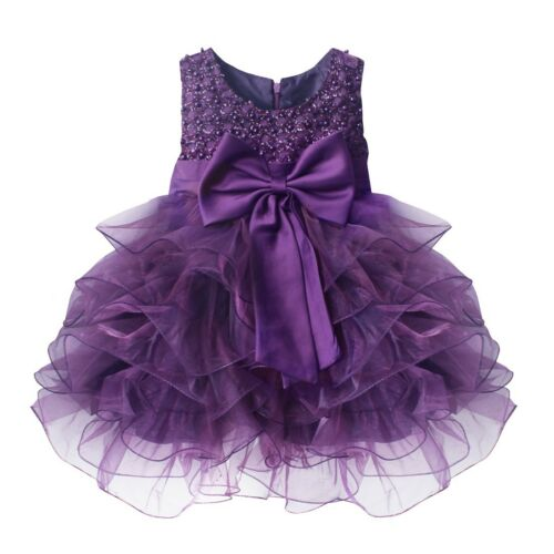 Flower Girl Princess Bow Dress Toddler Baby Kid Wedding Party Pageant Tutu Dress