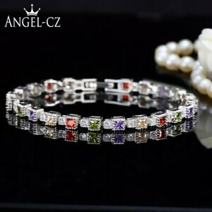 Exquis-925-Argent-Sterling-Zircone-Tennis-Bracelets-Incruste-Cristaux-Noel-Gifts