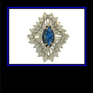 14K-Solid-White-Gold-Sapphire-amp-Diamond-Dinner-Ring
