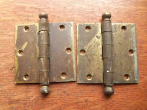 Delicieux Image Is Loading Two Antique Brass Plated Craftsman Door Hinges 3