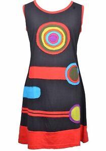 100-Cotton-Nepal-Boho-Chakra-Rainbow-Patch-Applique-Tunic-Dress-Multi-Colour
