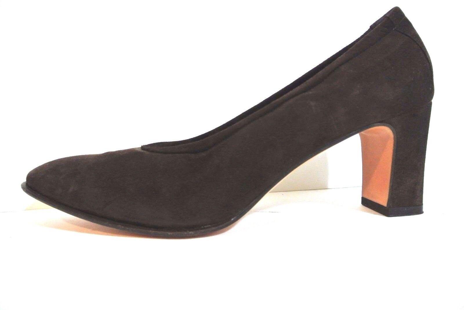 SALVATORE FERRAGAMO shoes Brown suede womens high heel classic pumps 8.5M