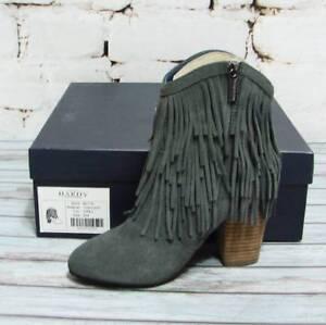 New-Women-039-s-Hardy-Design-Works-Blythe-Light-Gray-Fringe-Suede-Boots-5-5-Medium